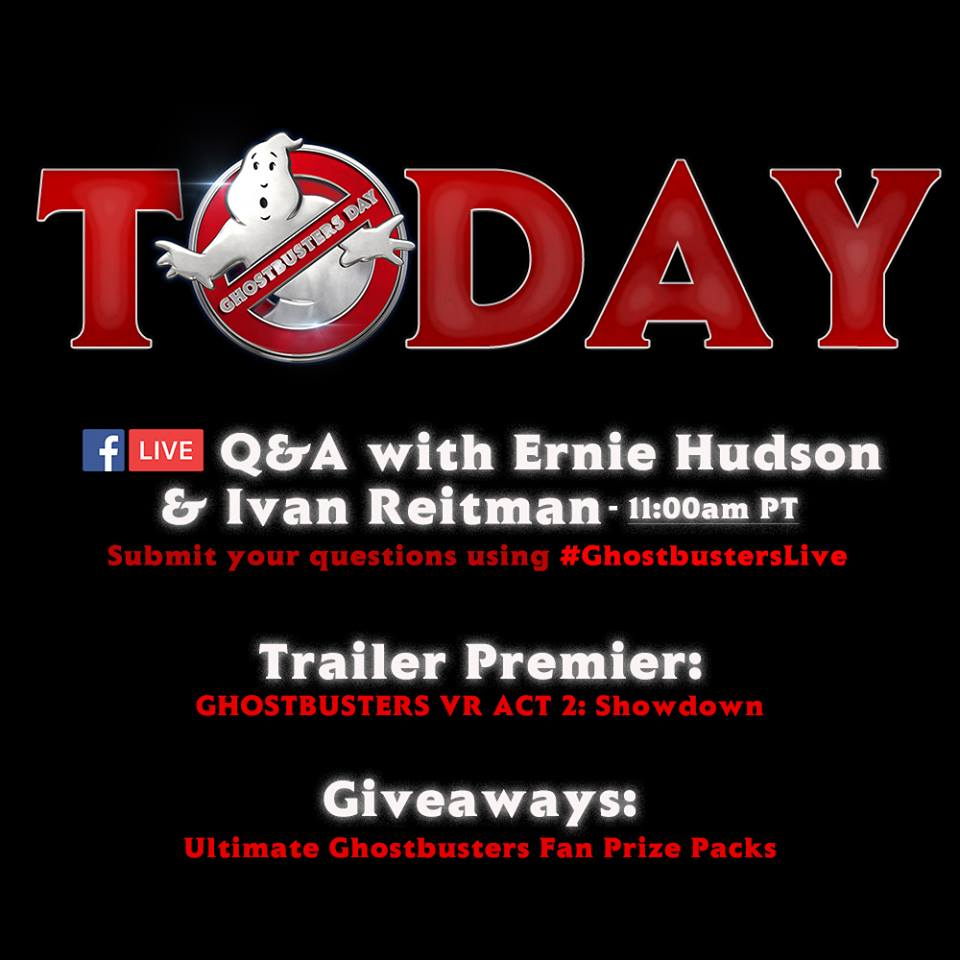 Happy Ghostbusters Day! Come hang out LIVE at 11am PST today with Ernie Hudson and Ivan Reitman as they answer your questions, giveaway prizes, and premiere the Ghostbusters IT VR Act 2 teaser! Share and like this post for a chance to win more #Ghostbusters IT prizes later today! #Ghostbusters ITDay #GBDay #Ghostbusters ITLive moviepilot.com